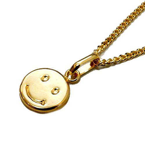 K18 YG チェーン 45cm & スマイリー ペンダント セット 喜平 ネックレス チェーン 喜平ネックレス ゴールド 18金 ネックレス 安心の日本製 18k