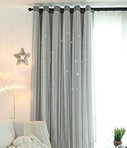 KRUIHAN Cortina Opaca de Estrella Hueca Cortina de Sombra de Estrellas Ligera Cortinas de Ventana con Aislamiento Térmico con Gasa Blanca (1 Panel,130 x 180 cm)