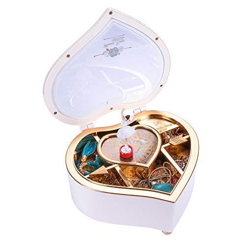 HooAMI Schmuckkästchen mit Drehender Ballerina Mädchen Spieluhr Schmuckschatulle Herz Aufbewahrungsbox Schmuckbox für Kinder Ringe Ohrringe Halskette