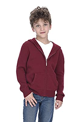 State Cashmere Unisex Kids Zip Up Hoodie Cashmere Merino Wool Long Sleeve Cardigan Sweater with Kangaroo Pocket (L(9-10 Years), Burgundy)