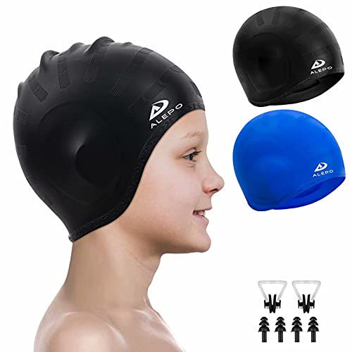 2 Pack Kids Swim Caps for Boys Girls, Durable Silicone Swimming Cap with 3D Ear Pockets for Age 3-15 Toddler Child Youth Teen, Unisex Swim Bath Hats for Short/Long Hair with Ear Plugs Nose Clip-1