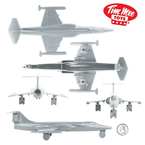 TimMee Plastic Army Men Cold WAR Fighter Jets - Gray Airplanes - Made in USA