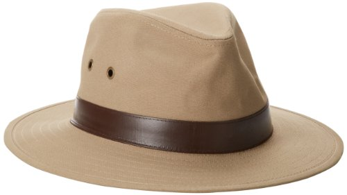 Henschel Men's Outback Crushable Cotton Canvas with Leather Band Hat, Khaki, X-Large