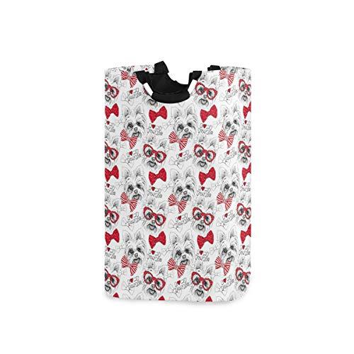 ZOMOY Multifunktionale Faltbarer Schmutzige Kleidung Wäschekorb,Nahtloses Muster mit Bild von Hund York Bows Glasses Tie,Household Wäschebox Spielzeug Organizer Aufbewahrungsbeutel mit Henkel