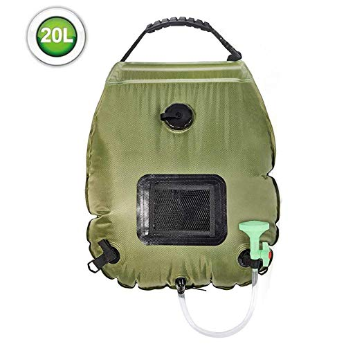 Best Prices! N/T Solar Shower Bag, 5 Gallons/20L Portable Solar Heating Camping Shower Bag with Hose...