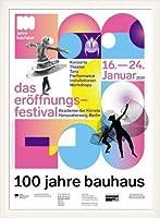 ポスター バウハウス 100 Jahre Bauhaus Festival 2019 white 額装品 ウッドベーシックフレーム(ホワイト)
