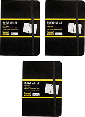 Idena - Notizbuch DIN A6, 192 Seiten, 80 g/m², schwarz (3, A6 kariert)