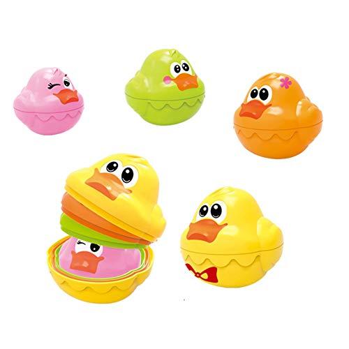 pittospwer 4 Teile / Satz Baby Badewanne Schwimm Bunte Ente Stapeln Entwicklung Lernen Kinder Spielzeug