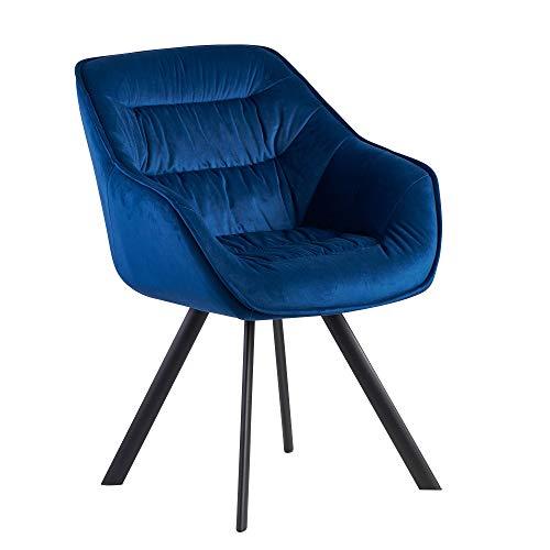 FineBuy Esszimmerstuhl Samt Blau Gepolstert | Küchenstuhl mit Schwarzen Beinen | Moderner Schalenstuhl mit Armlehnen | Design Polsterstuhl Stoffbezug