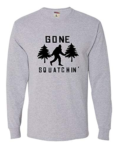 Go All Out Medium Athletic Heather Adult Gone Squatchin' Gone Squatching Bigfoot Sasquatch Long Sleeve Tee