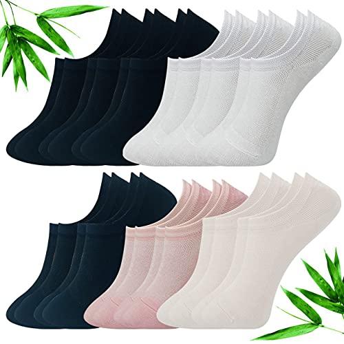 Calcetines Invisibles Mujer con Silicona Antideslizante,Fibra de Bambú,Transpirable,Antibacteria y Antialérgeno,12 Pares de Calcetines Cortos,Color Liso Negro Blanco Azul Beige Rosa