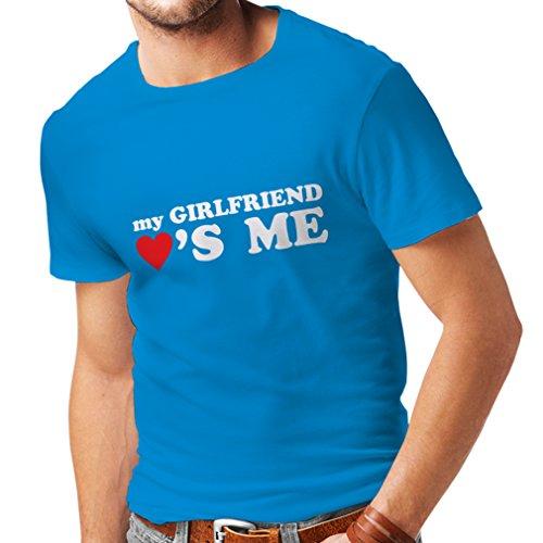 Camisetas Hombre Mi Novia me ama Regalos Novio para San Valentín (X-Large Azul Blanco)