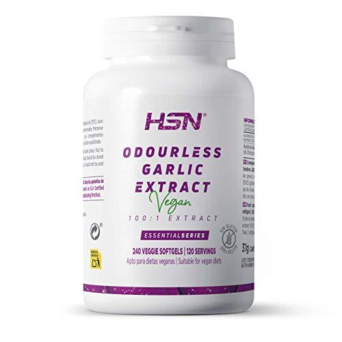 Ail Inodore 20mg de HSN | White Garlic | Odourless Garlic Extract 100:1 | Concentration 100:1 qui équivaut à 2000 mg d'huile de gousse d'ail inodore | 240 perles végétales