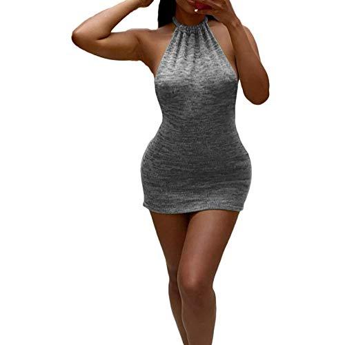 ChouZZ Vestido sexy de cuello halter sin mangas con cordones para arriba de color sólido partido Club Backless Bodycon Vestidos