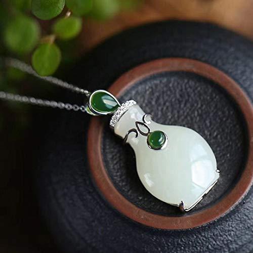 Mayanyan S925 Sterling Silber Intarsien weiße Jade Vase Anhänger natürliche Achat Halskette Damen Geschenk
