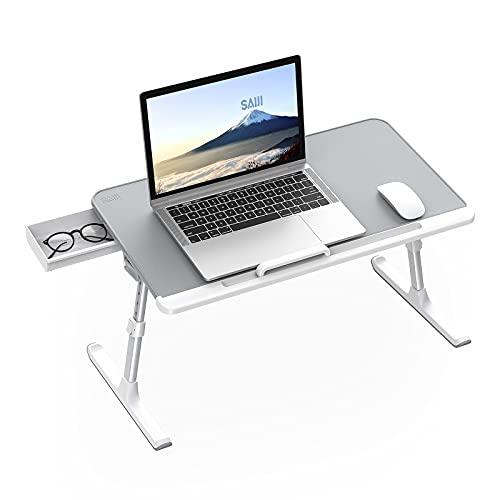SAIJI Laptop Tisch fürs Bett, Verstellbarer Computer-Betttisch, Laptoptisch mit Aufbewahrungsschublade, klappbare Beine, Rodelfüße, Tischplatte aus PVC-Leder (Grau)