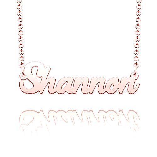 CLY Jewelry Name Necklace of Rose Gold Plated Custom with Personalized Gift for Women Girls Couple Pink