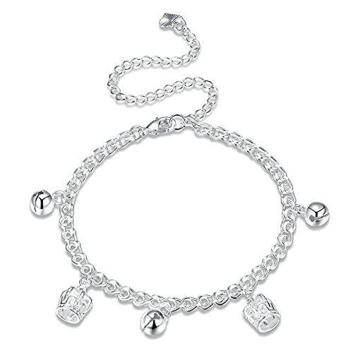 KnSam Tobillera para mujer, cadena para el tobillo, diseño de cascabeles, oro blanco real de 18 quilates, cadena para el pie de plata para mujer, 28 cm de largo, cadena para el pie de oro blanco