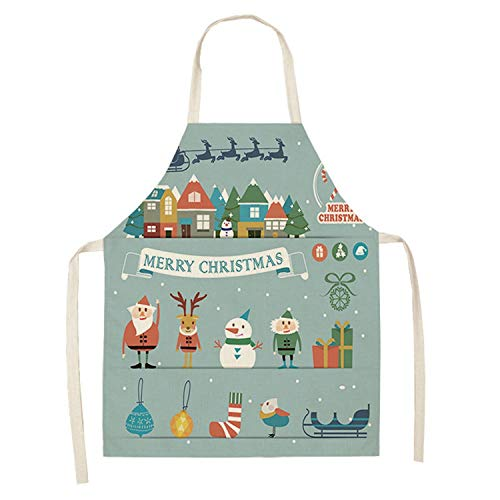 Zgren Official Store Snowman Christmas Apron Snowflake Pinafore Cotton Linen Aprons 53 65cm Adult Bibs Kitchen Cooking Baking Accessories