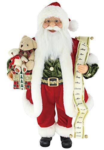 16' Inch Standing Teddy Bear Name List Santa Claus Christmas Figurine Figure Decoration 169080