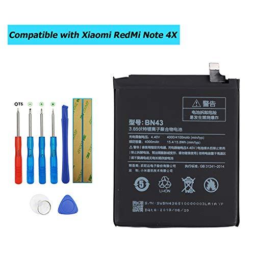 Upplus BN43 - Batería de Repuesto Compatible con Xiaomi RedMi Note 4X con Kit de Herramientas (3,85 V, 4000 mAh)
