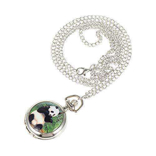 ibasenice Reloj Panda Collar Colgante Reloj de Bolsillo de Cuarzo Reloj Decorativo Colgante con Cadena de Metal para Niño Niña Niño Regalo