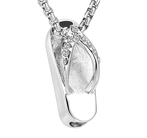 DIYPNM 316L inoxidableMini Collar de Cenizas de Recuerdo funerario de Acero, Colgante de urna Conmemorativa con Chanclas de Cristal, joyería para Mujer, Venta al por Mayor