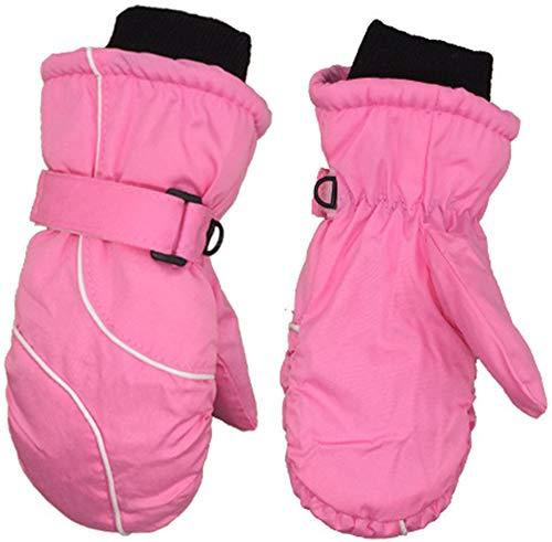 OOFAY Kinderhandschuhe, Polyester Wasserdicht, Erkältung und Kratzfeste Winter warme Handschuhe, Geeignet für Skifahren, Schlitteln, Outdoor-Sport und andere Aktivitäten,Rosa