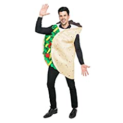 Mexican Taco Costume for Men and Women, includes One-Piece Pull over Costume Tunic! Unisex Taco Outfit Halloween Costume Deluxe Set. Realistic Looking, Super Durable. Superior Quality. 100% Polyester. Hand Wash. Safety Test Approved. Taco Shell Print...