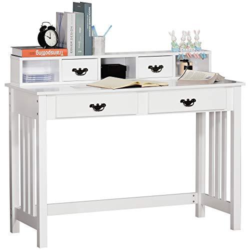 HOMCOM Schreibtisch Computertisch Bürotisch Arbeitstisch PC Tisch mit abnehmbarem Regal 2 Schubladen Breite Tischplatte für Arbeitszimmer Büro und Wohheim Weiß