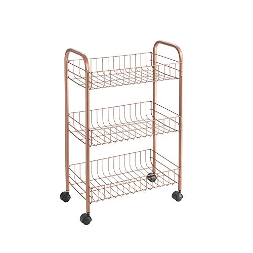 Metaltex Copper- Carro multiuso con ruedas, Dorado, 3 Cestos