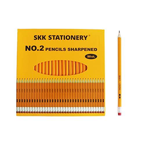 SKKSTATIONERY 50 Pcs Presharpened pencils Pencils Sharpened with eraser top 2 HB pencil 50/box