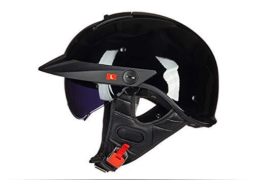 Casco de motocicleta retro clásico con gafas ligeras, extraíbles y lavables, forro interior adecuado para scooter crucero volador, scooter, unisex, certificación ECE C, XXL
