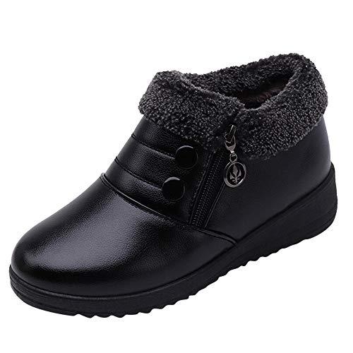 Honestyi Chaussures en Cuir Femme Hiver Garder au Chaud Bottillons Plateforme Bottes à Enfiler Zipper Footwear Dame Casual Shoes Talon Bas Chaussures de Travail Boots Couleur Unie Bottes