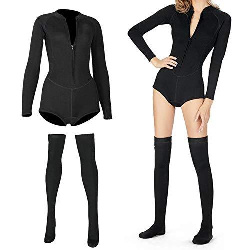 BOLORAMO Traje de Surf para Mujer, Bikini para Mujer Traje de Buceo Medias de Manga Larga Traje de Baño para Surf Traje de Baño para Mujer Traje de Baño para Surf de Manga Larga(S)