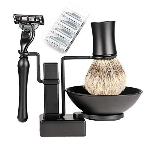 RBH Set de Afeitado para Regalo del día del Padre Set de Belleza, brocha de Afeitar Pure Mane de Lujo 3 en 1 para Hombres y Cuchilla de Afeitar con 4 Cuchillas exquisitas papá