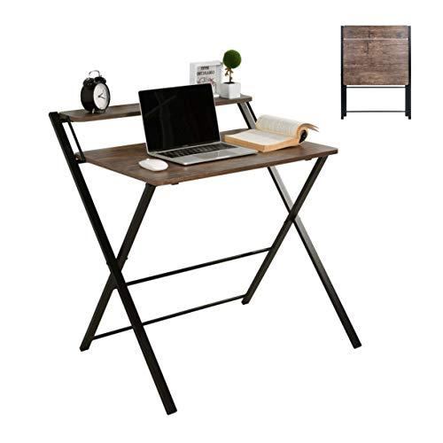 MEUBLE COSY Bureau Pliable pour Ordinateur Table de Bureau Pliante Bureau Informatique avec Etagères Taille Poste de Travail Aucun Montage + Marron + 81.5x70x82.5cm
