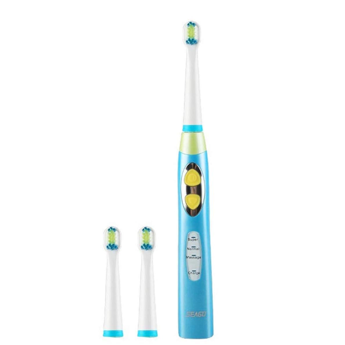 写真の使用法滅びる子供電動歯ブラシUsb充電式充電タイマーブラシ3モードソニック歯ブラシ3頭デンタルケア、ブルー