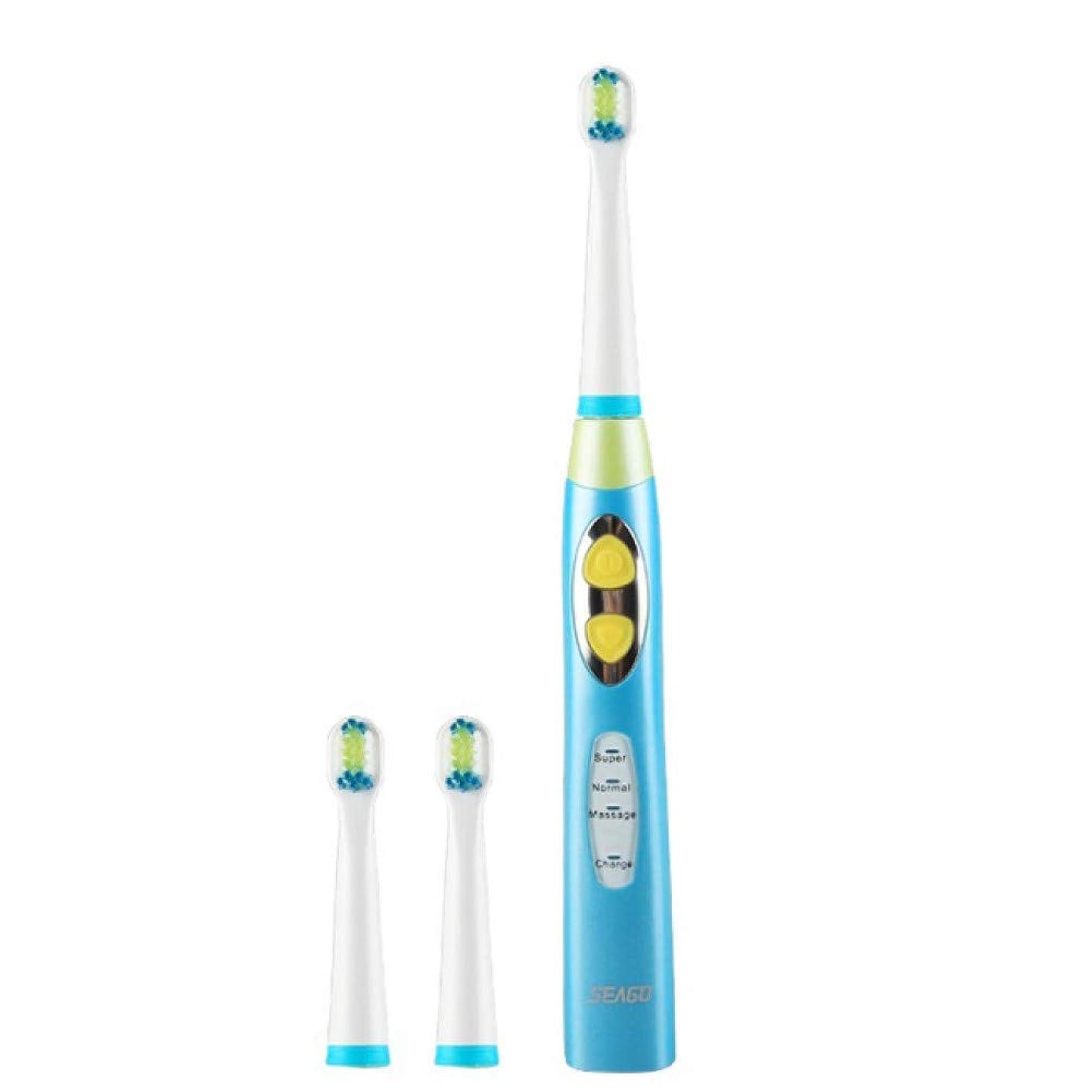 チョコレート配る派生する子供電動歯ブラシUsb充電式充電タイマーブラシ3モードソニック歯ブラシ3頭デンタルケア、ブルー