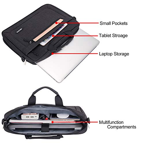 MOSISO Laptop Shoulder Bag Compatible with 13-13.3 inch MacBook Pro, MacBook Air, Notebook Computer, Polyester Messenger Carrying Briefcase Sleeve with Adjustable Depth at Bottom, Black