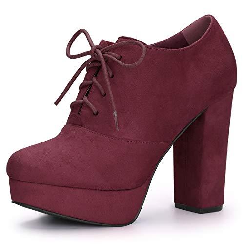 Allegra K Women's Platform Chunky Heel Lace Up Burgundy Boots - 8 M US