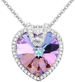 Swarovski Elements 18K White Gold Plated Necklace encrusted with Purple Swarovski Crystals, SWR-463
