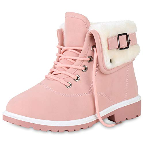 SCARPE VITA Damen Stiefeletten Worker Boots Outdoor Schuhe Schnallen Warm Gefütterte Schnürschuhe Winterschuhe Profilsohle 165387 Rosa 39
