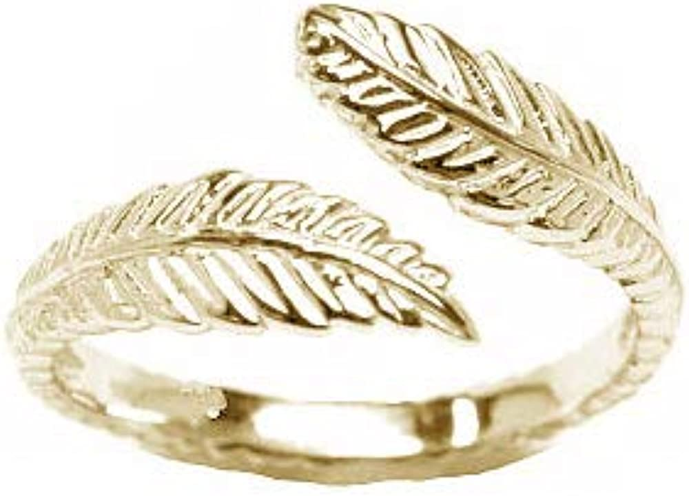10k Yellow Gold Toe Ring Feather. Size Adjustable