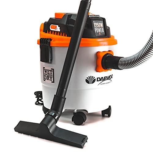 Daewoo DAVCW90-15L Aspirapolvere Wet&Dry 15L | 1250W Wet&Dry Aspiratore | Ampia gamma di accessori, tubo di aspirazione da 1,5 m | Funzione di soffiaggio