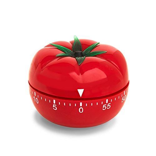 ADE Mechanischer Küchentimer TD 1607. Klassischer Kurzzeitmesser in Form einer Tomate aus hochwertigem ABS-Kunststoff zum Aufziehen. Akustisches Signal nach Zeitablauf. Zuverlässige Eieruhr. Rundskala
