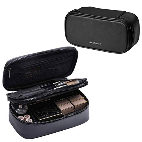 Mini Makeup Bag, BEGIN MAGIC Small Travel Cosmetic Brush Bag Organizer Portable Makeup Waterproof PU Leather Case Pouch Toiletry Bag with Brush Holder