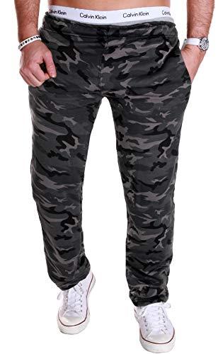 RMK Herren Hose Jogginghose Trainingshose Fitnesshose Army Militär Tarn (L Camouflage Dunkel (H01))