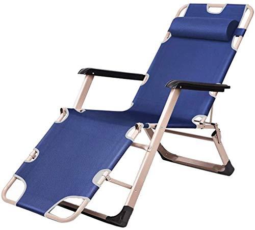 Sun silla tumbona balancín sillas reclinables almuerzo de oficina siesta cama ajustable playa portátil de casa silla multifunción silla de salón perezoso,Blue