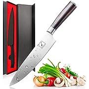 Imarku Couteau de cuisine, professionnelle 20 cm couteau à légumes, couteau de chef, en acier carbone inoxydable bord avec lame de précision et avec poignée ergonomique Couteau à tout faire marron